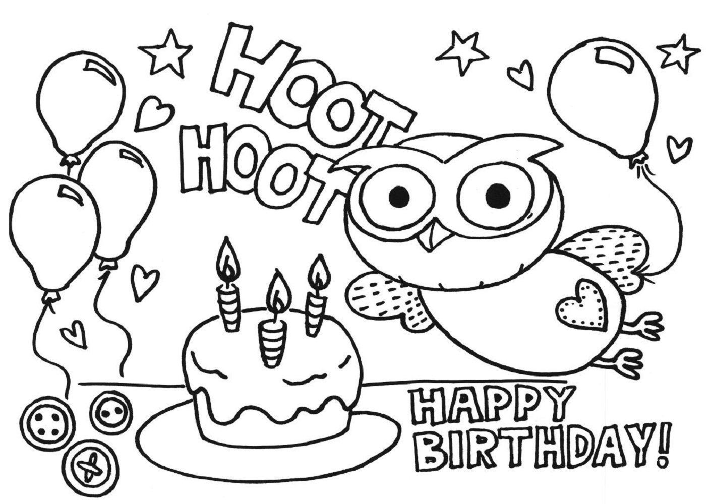Happy Birthday Color Pages | Kiddo Shelter | Coloring Pages for Kids ...