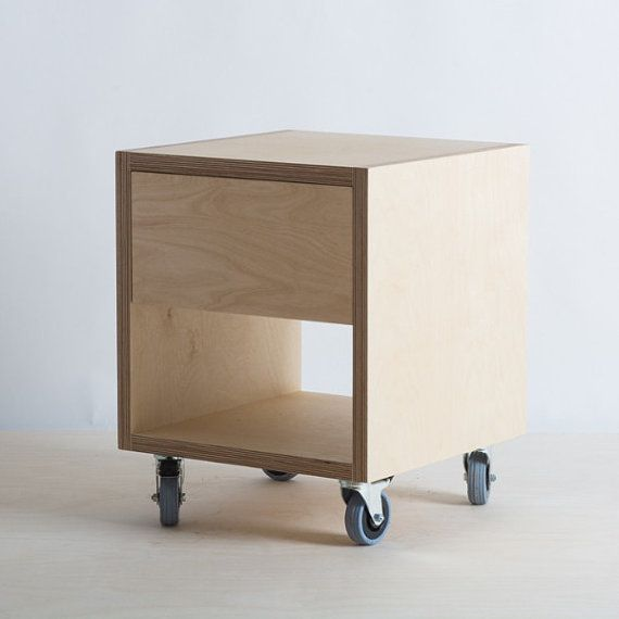 Storage side table with drawer on wheels for Plywood bedside table
