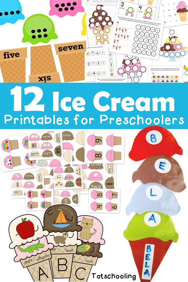 12 Ice Cream Printables for Preschoolers | Abc games, Number and Gaming