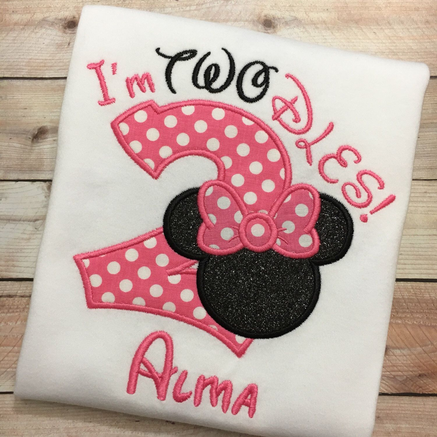 2nd birthday im twodles minnie mouse embroidered t
