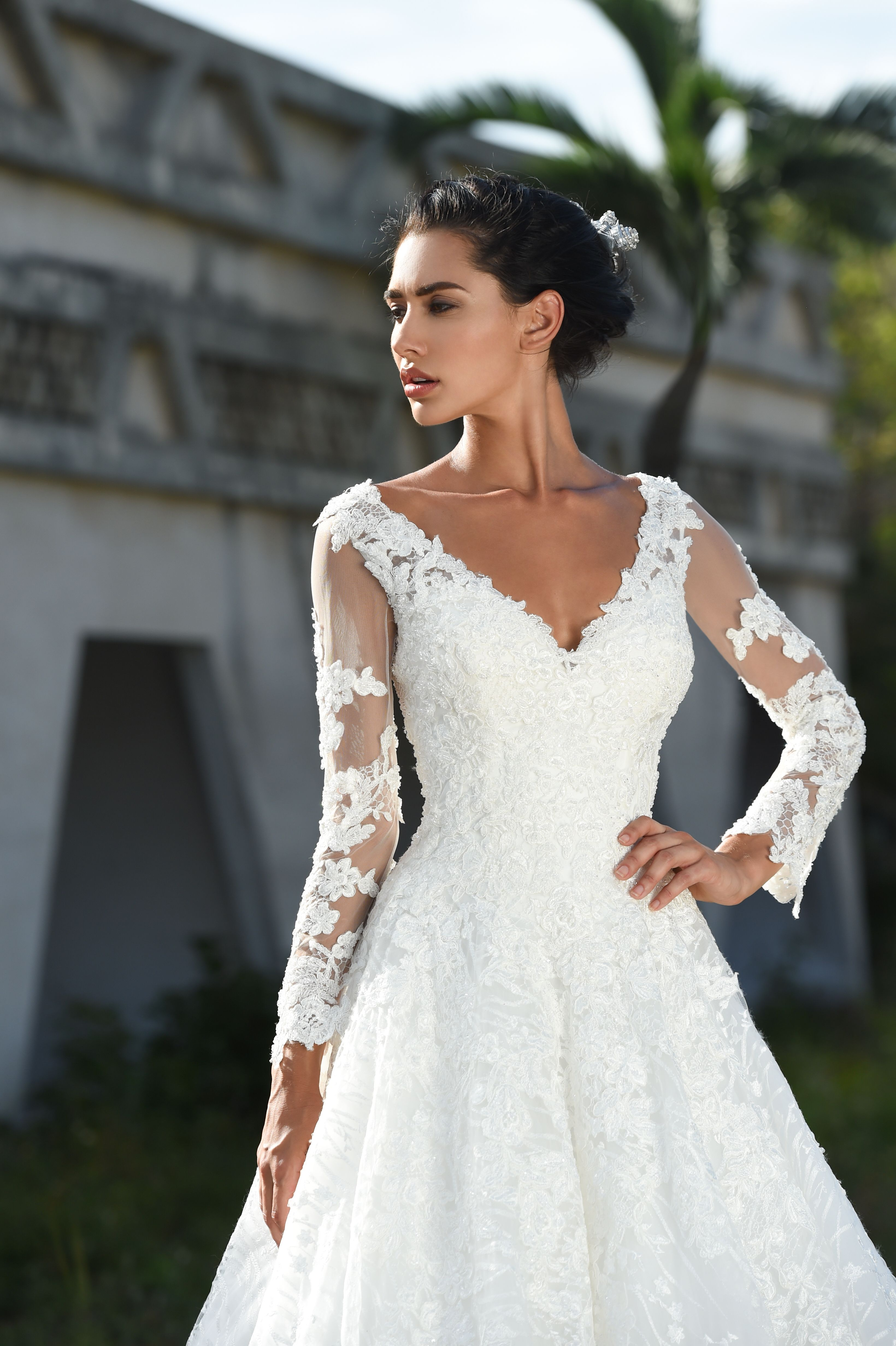 Dando London Couture 2018 Bridal Gown Collection Fantasia Ball With Deep V Neckline And Full Length Illusion Lace Sleeves