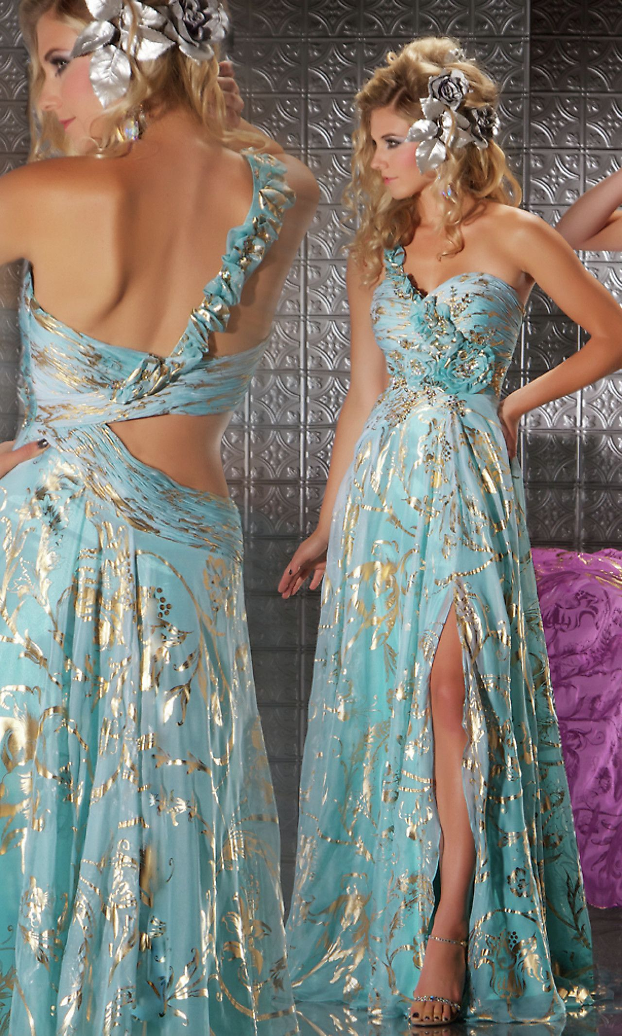 Full length one shoulder print formal gown by Mac Duggal. Style ...