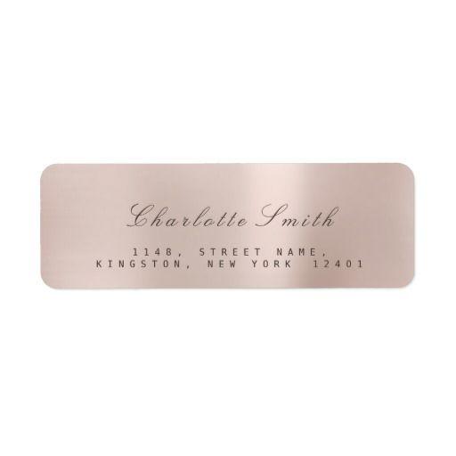 minimalism pink rose gold return address labels minimalism return