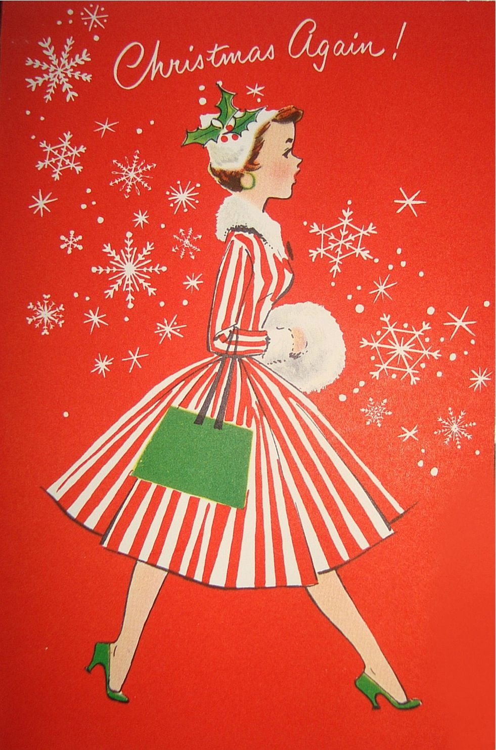 Vintage christmas greeting card by norcross lady in stripes ive already got the muff and the hat i need a kristyandbryce Image collections