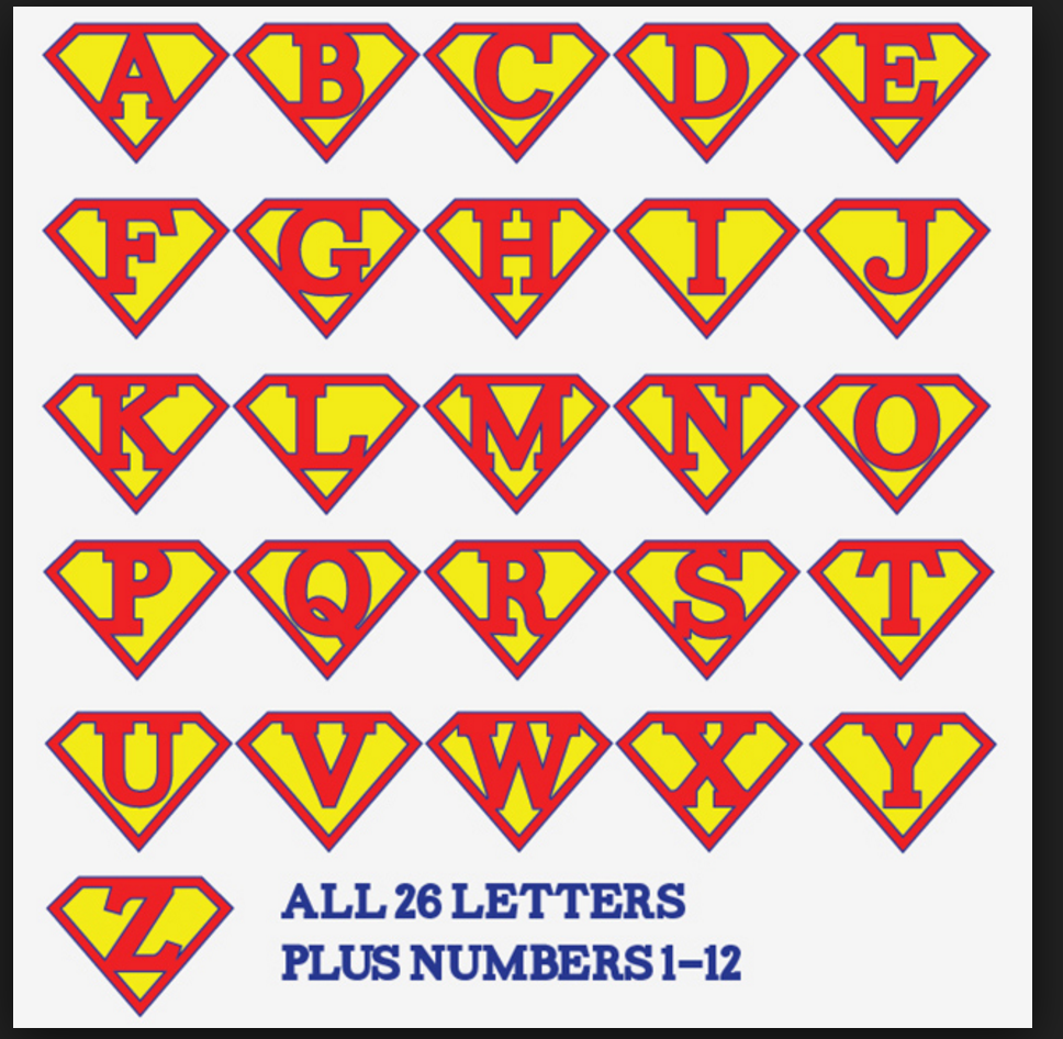 Alphabet Letters Iron On 26 Printable Super Hero Banner