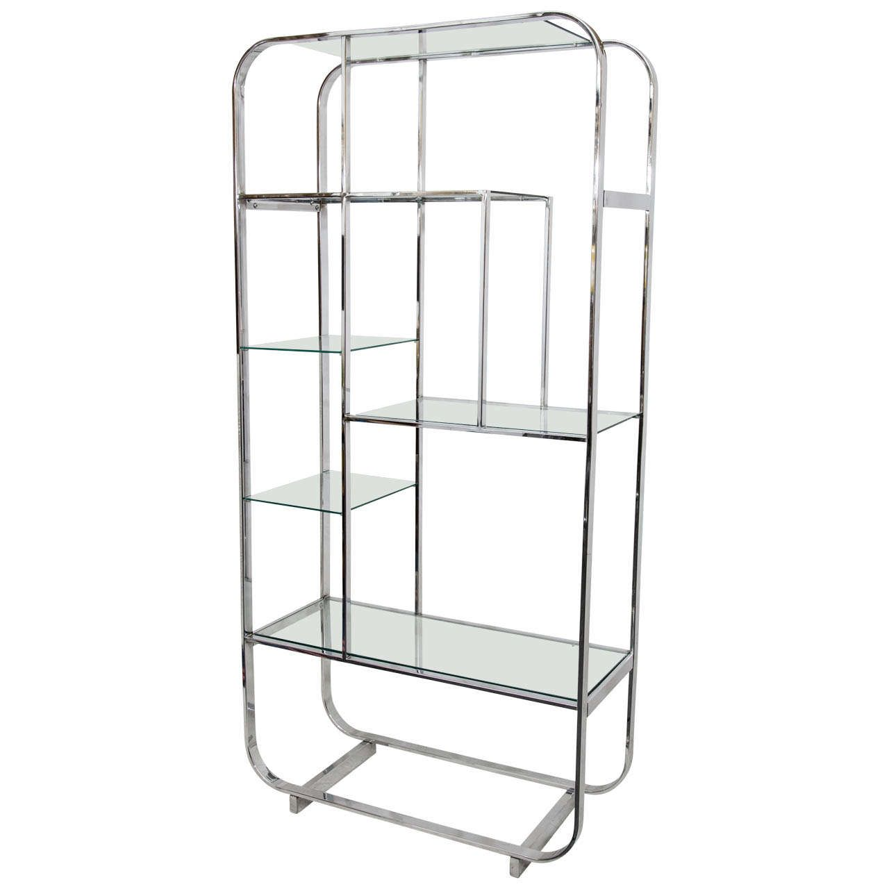 Curved Chrome And Glass Tag Re Attributed To Design Institute Of  # Etagere Vintage Plexiglas