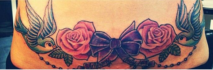 Lower Back Flower Tattoos: Lower Back Bird Bow And Flower Tattoo