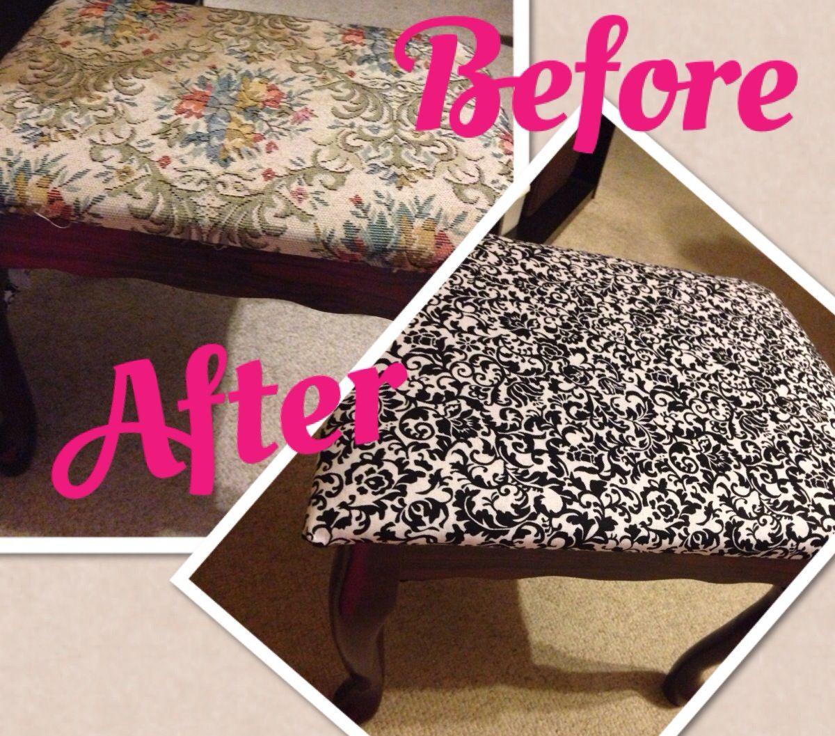 Diy Reupholster Vanity Seat Vanity Seat Easy Diy Projects