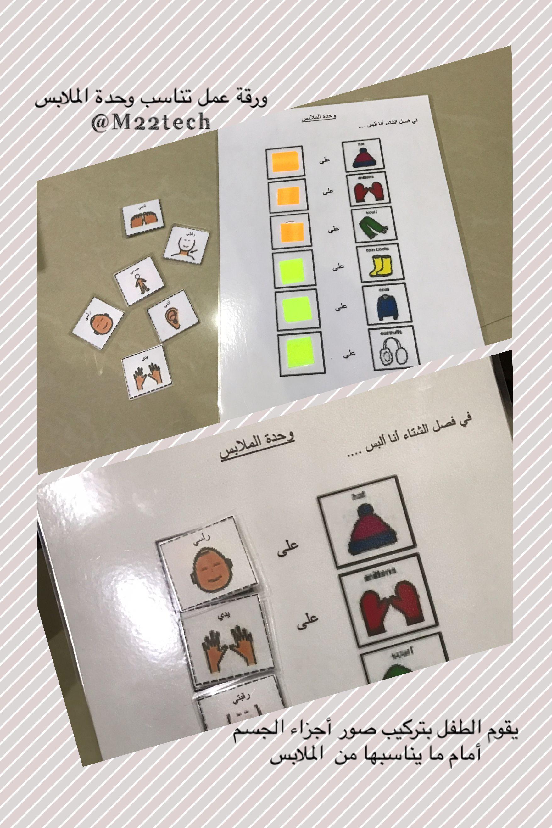 ورقة عمل تناسب وحدة الملابس يقوم الطفل بتركيب صور أجزاء الجسم أمام ما يناسبها من الملابس Learning Arabic Learning