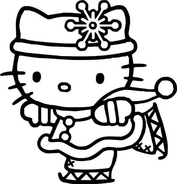 hello kitty ice skating coloring pages for kids printable hello kitty coloring pages for kids - Kitty Printable Color Pages