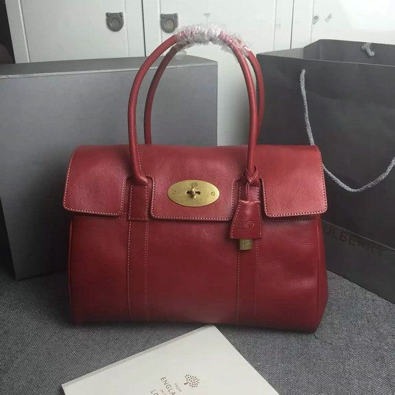 e52b57c614e5 ... norway 2015 womens mulberry bayswater tote bag in red natural leather  71575 af365 ...