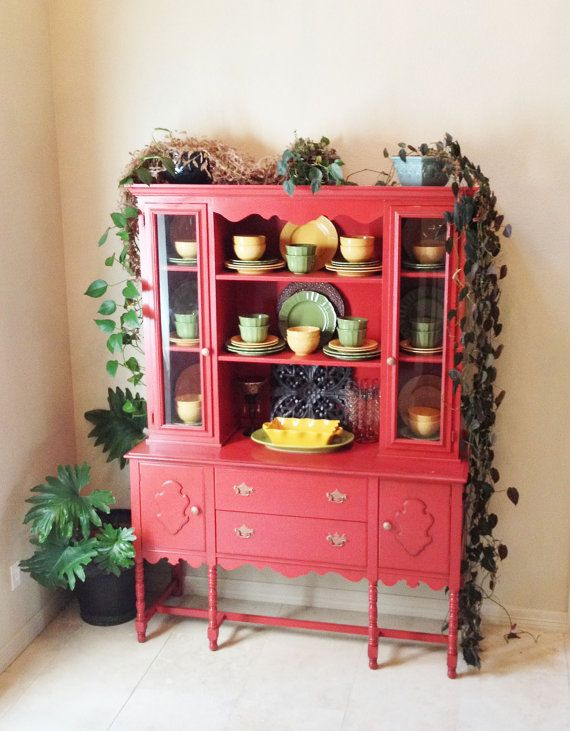 Attirant Upcycled Vintage Rustic Red Shabby Chic Hutch, China Cabinet, Buffet,  Pickup In Dallas, Texas