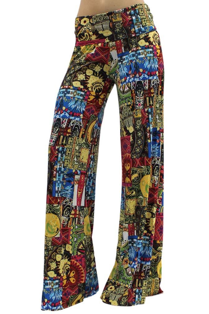 Womens Floral Capri Palazzo Pants High Waist Wide Leg Pants Bajama Lounge Boho Paisley Hippie Loose Yoga Pants Dress