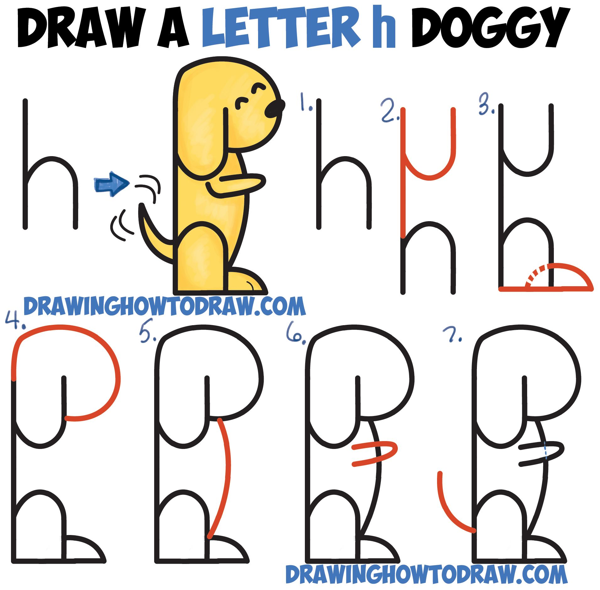 How to draw a cartoon dog begging from 2 letter 39 h 39 shapes for How to make cartoon drawings step by step