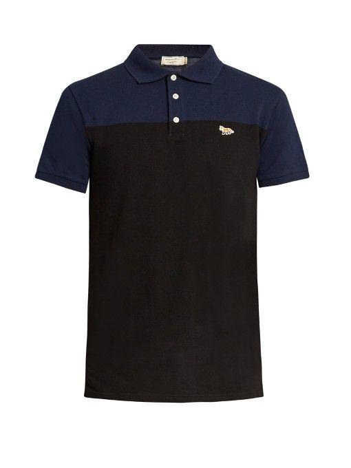 MAISON KITSUNÉ Bi-colour cotton-piqué polo shirt. #maisonkitsuné #cloth #shirt