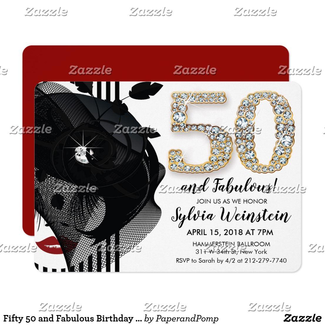 Fifty 50 and Fabulous Birthday Invitation | Birthdays
