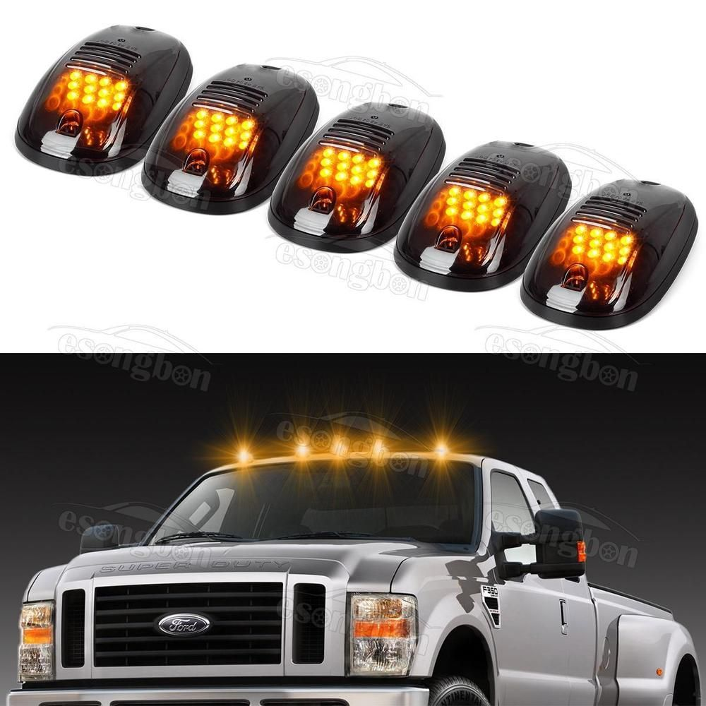 Details about 5pc Smoke Cab Roof Marker Lights Yellow for