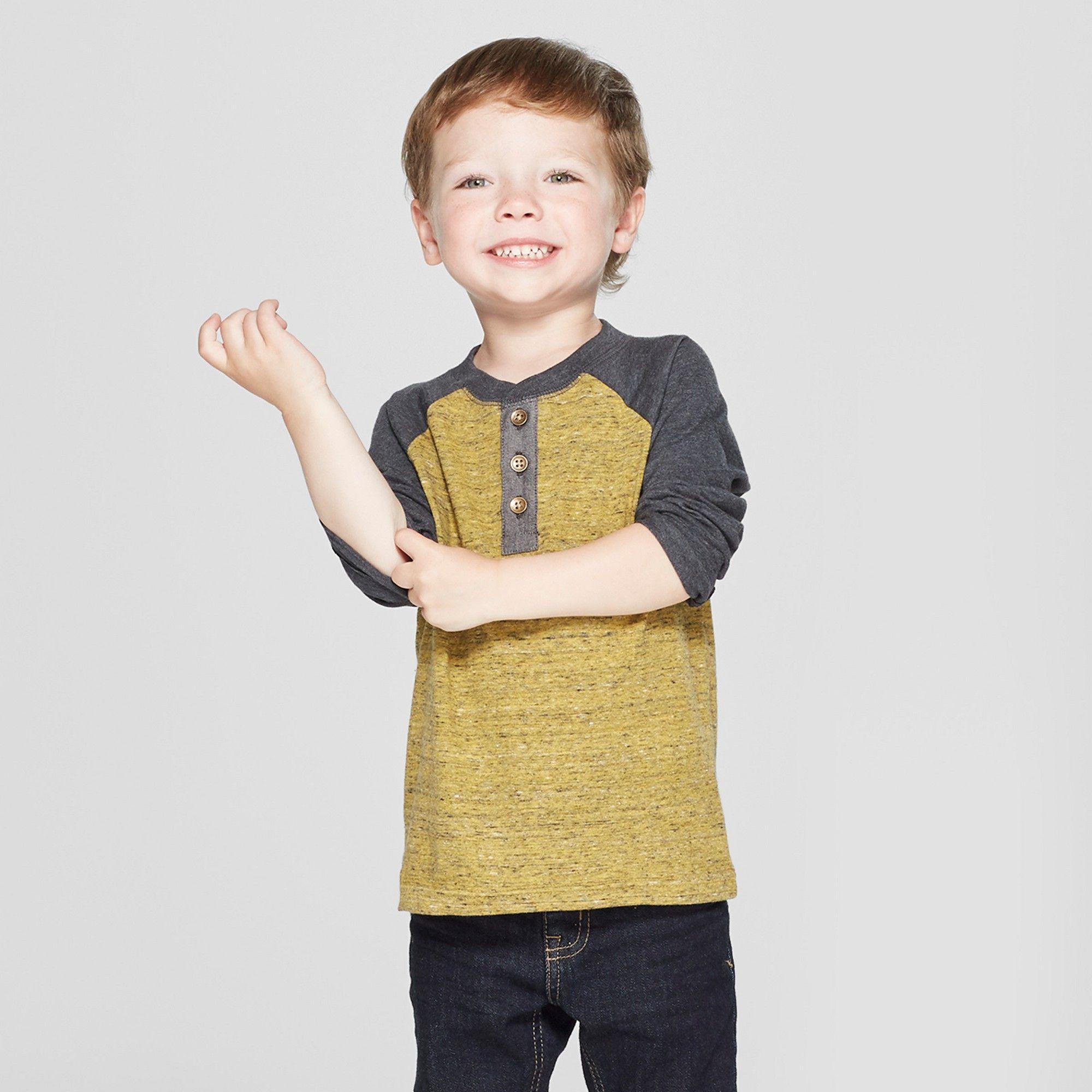 7bd99271e3b Toddler Boys  Raglan Long Sleeve Henley - Cat   Jack Mustard Yellow ...