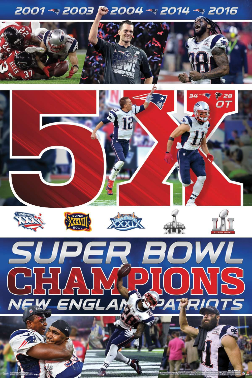 24x36 New England Patriots Super Bowl Li Celebration New England Patriots Nfl Football Posters Patriots