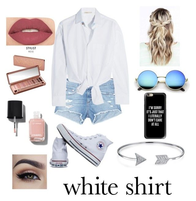 """White shirt"" by djbucko on Polyvore featuring rag & bone/JEAN, Converse, Casetify, Smashbox, Urban Decay, Chanel, Maje, Bling Jewelry and WardrobeStaples"