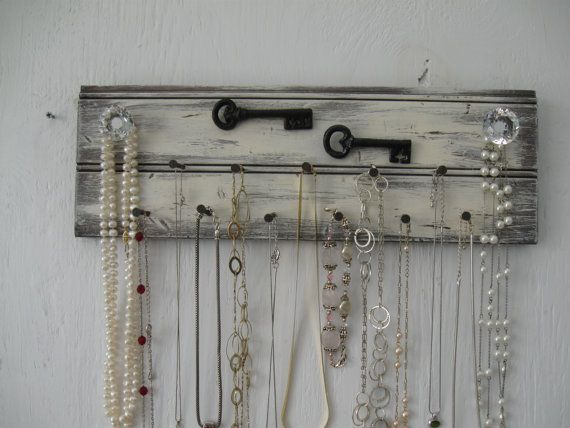 Rustic Jewelry Holder 16 Inches Long Metal Keys Distressed Necklace