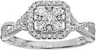 Bridal Diamond Rhodium Plated 14k White Gold Square Double Halo Twisted Engagement Ring