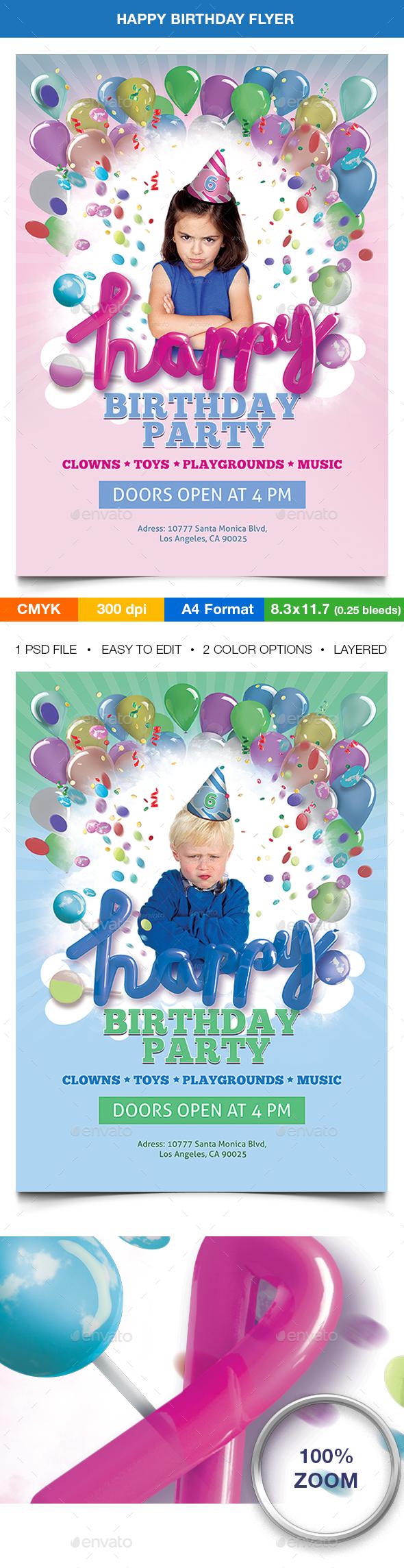 Happy Birthday Flyer Template Pinterest Flyer Template Event