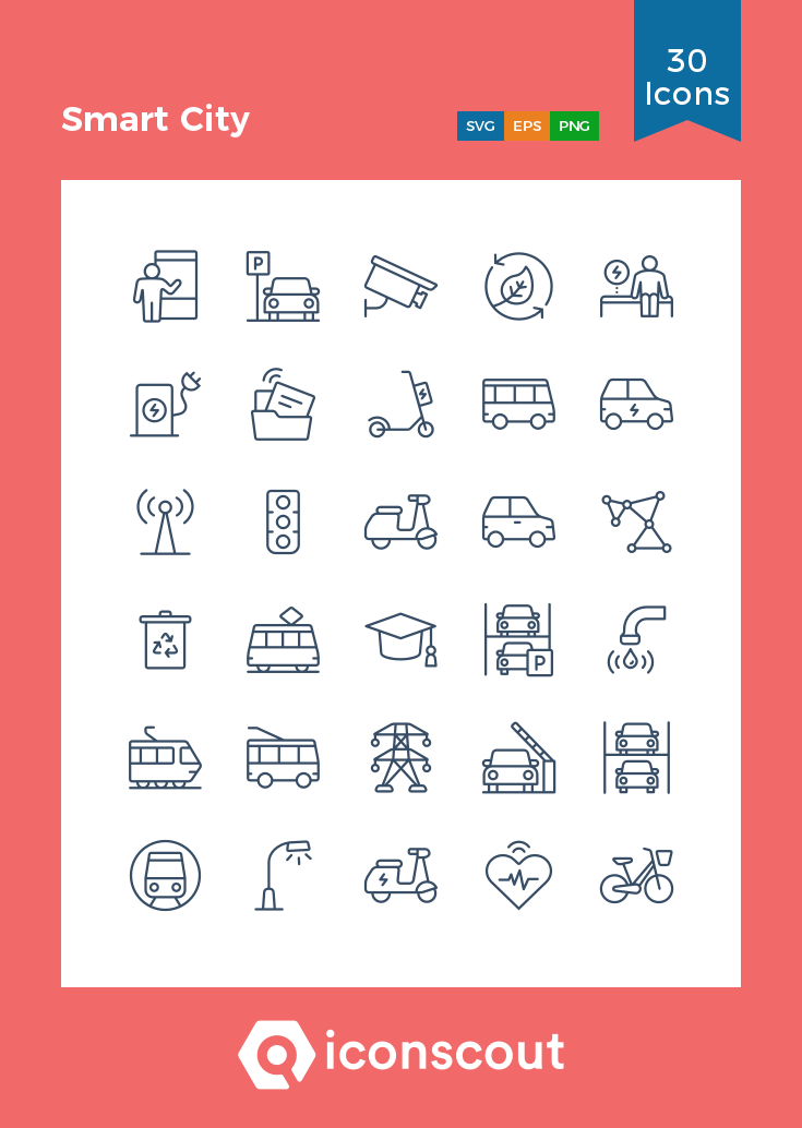 Smart City Icon Pack 30 Line Icons