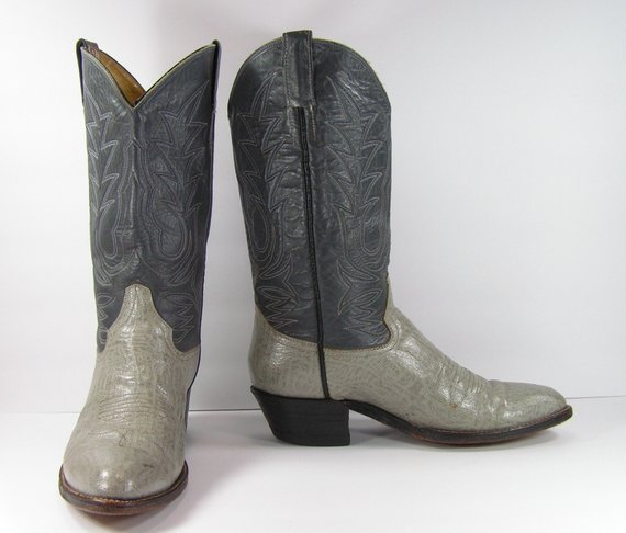 f8fa29c0338 vintage cowboy boots mens 10.5 D gray blue western leather cowtown ...