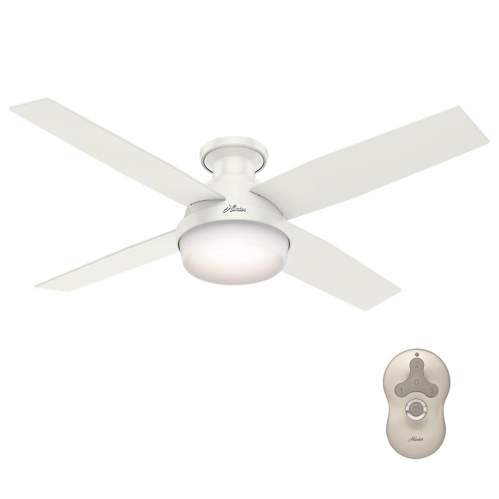 Hunter Dempsey 52 In Low Profile Led Indoor Fresh White Ceiling Fan With Universal Remote 59242 White Ceiling Fan Ceiling Fan Modern Ceiling Fan
