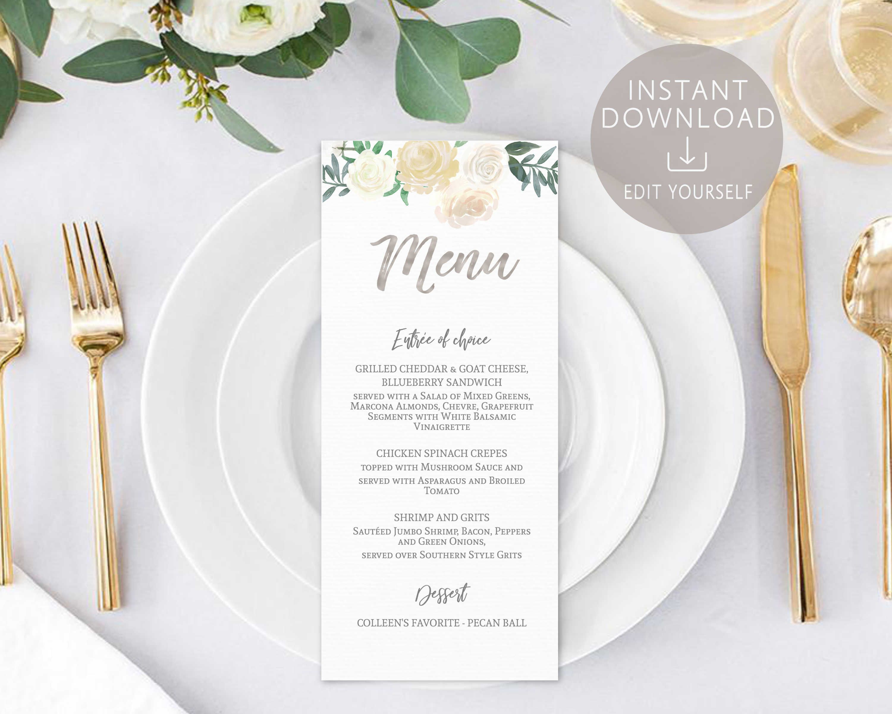 menu template editable pdf bridal shower menu baby shower menu ivory white silver watercolor flower wedding printable menu dinner card by