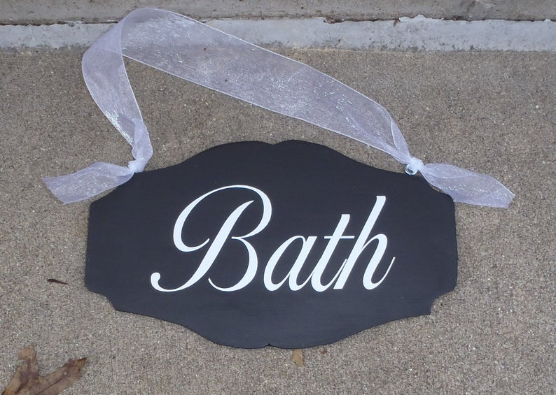 Bath Door Sign Powder Room Sign Wood Vinyl Scallop Design Etsy Powder Room Signs Wood Vinyl Bath Sign