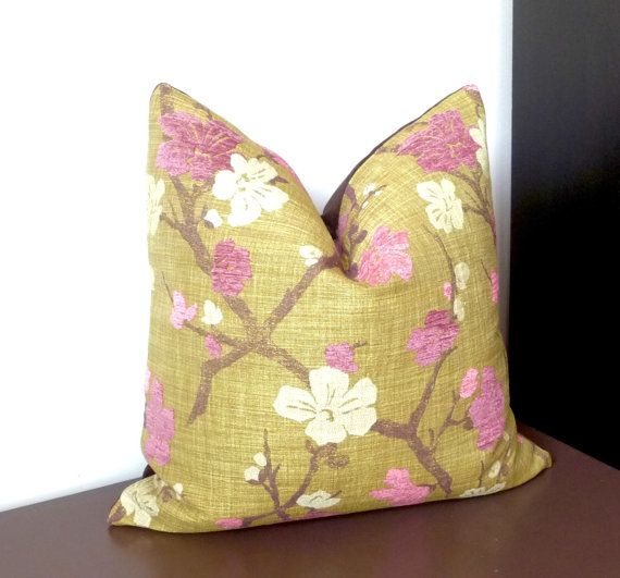 Pink Olive Green Decorative Pillow Luxury Pillow Fuchsia Floral Beauteous Pink And Green Decorative Pillows