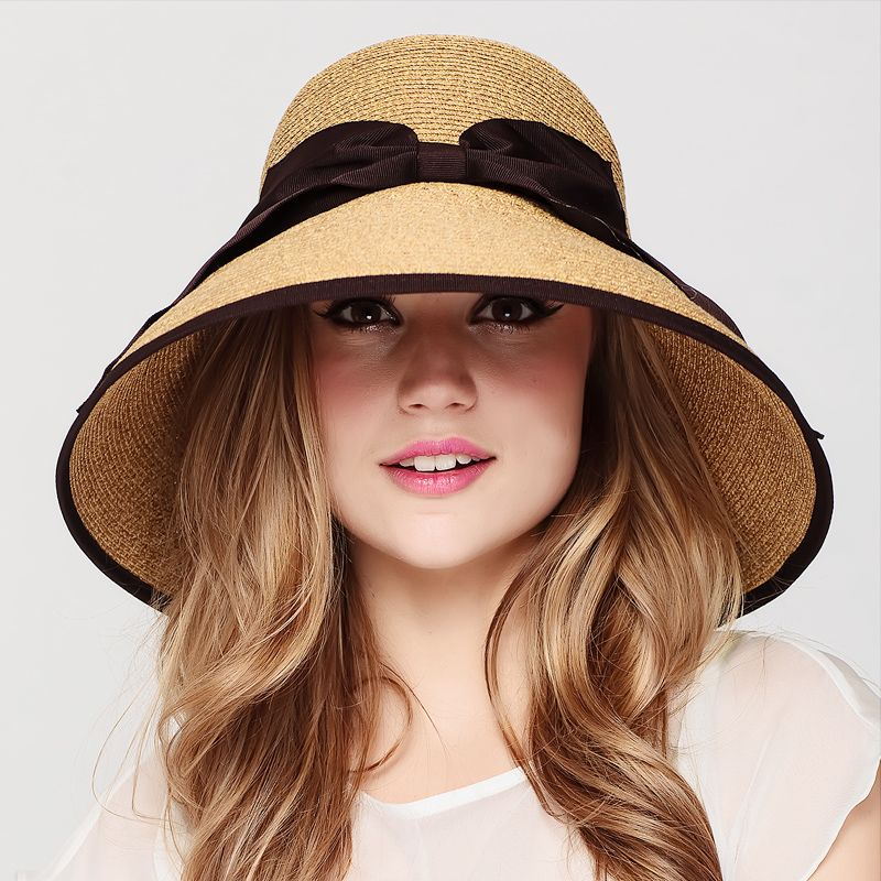 Brown straw bucket hat with bow womens wide brimmed sun