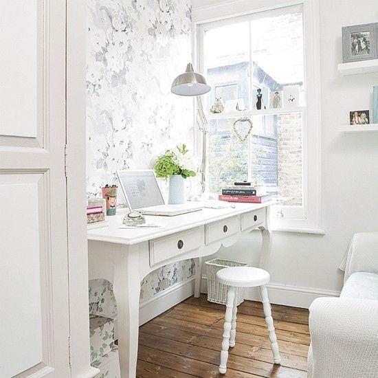 Wohnideen Home Office Weiß Pastelltöne Shabby Chic