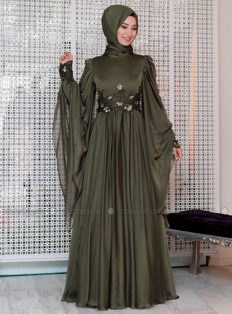 b141d6e9cdd Green - Fully Lined - Crew neck - Muslim Evening Dress - Efkeyem