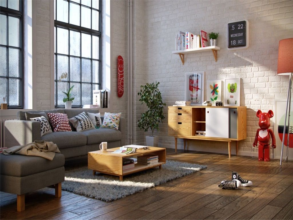 living room design with area rug