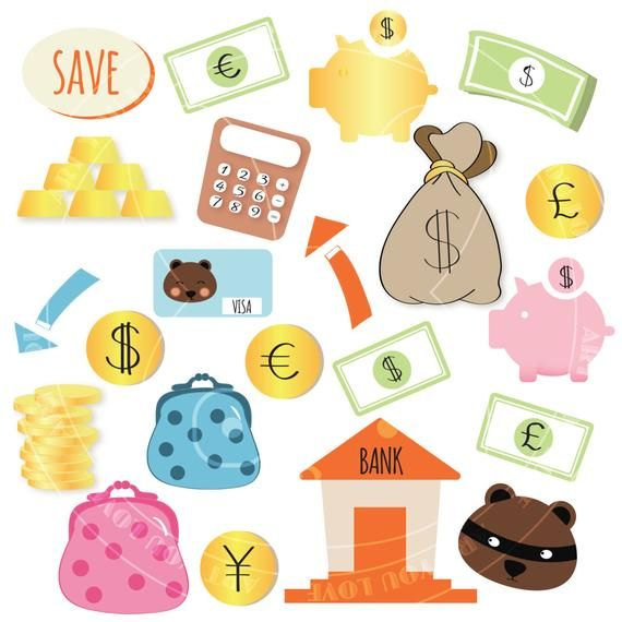 Money Png Clipart Sublimation Graphic Design Gold Coins Piggy Bank Cash Bags Financial Images Printable Planner Sticker Pictures Files Money Clipart Kawaii Clipart Scrapbook Designs