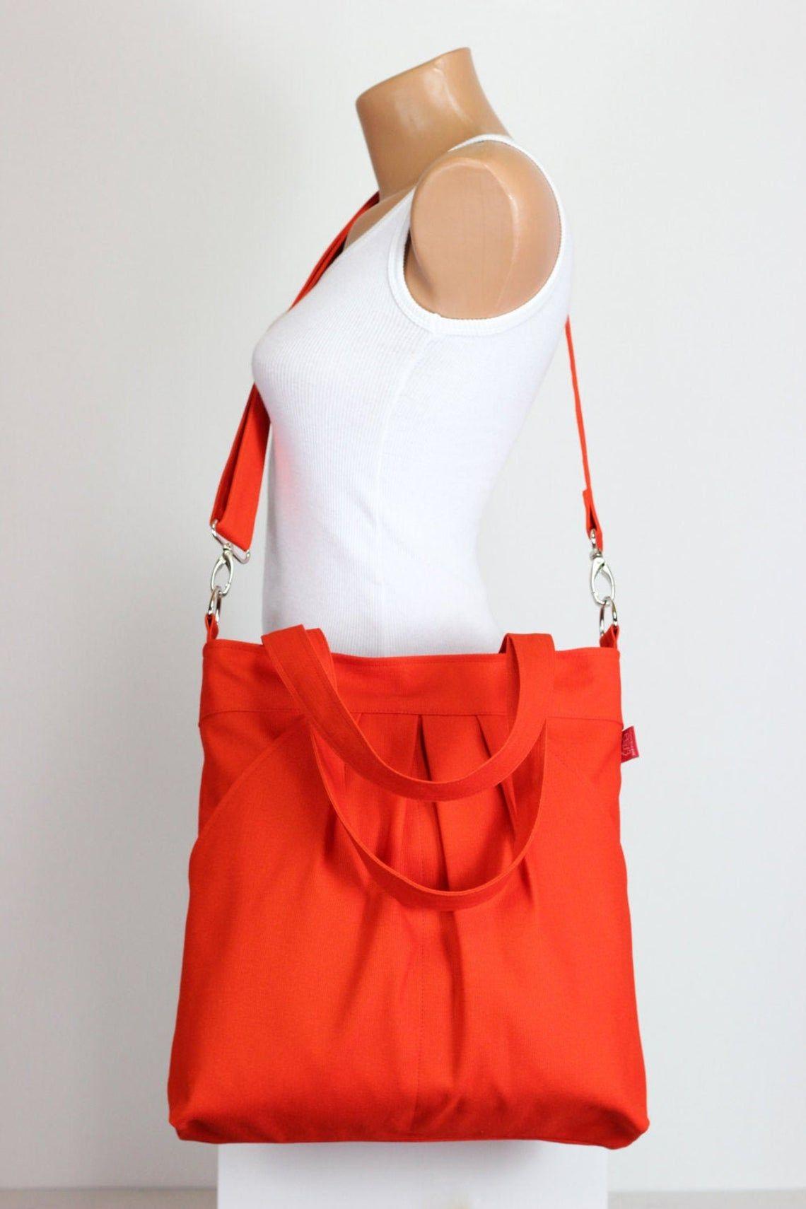 girls gift Orange canvas shoulder bag messenger bag men crossbody bag satchel travel bag hobo bag market tote bag laptop purse diaper bag