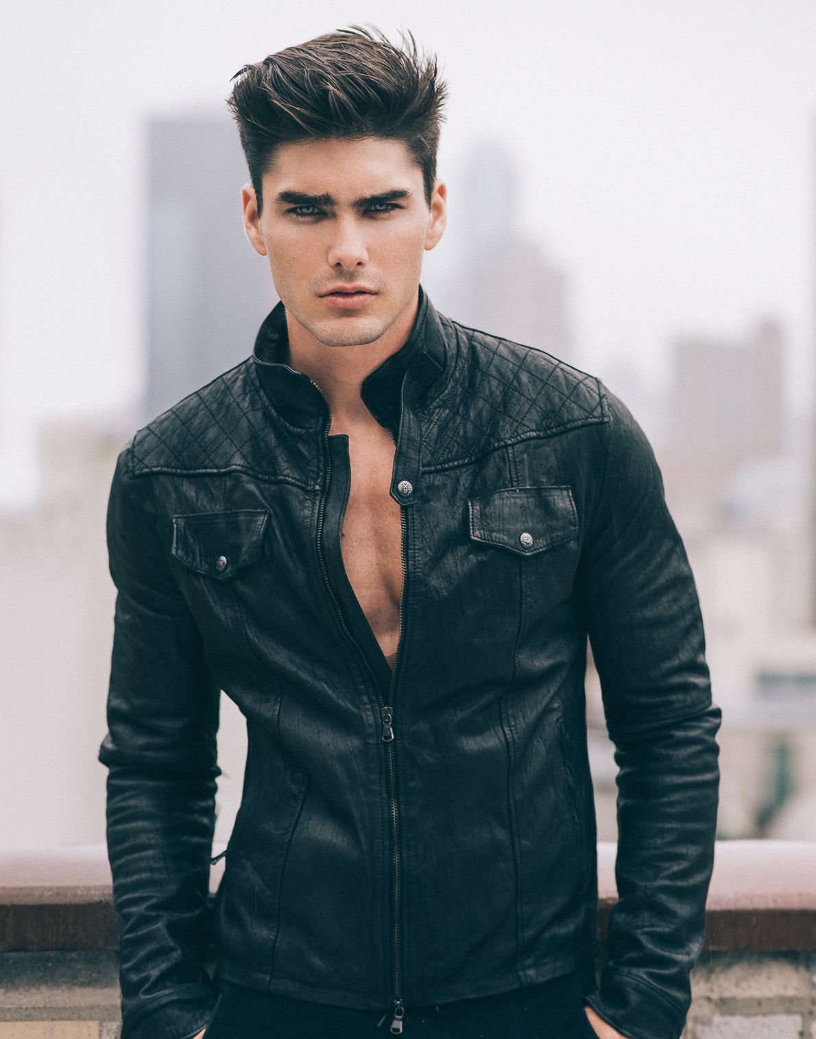 Boys With Black Hair And Blue Eyes In 2020 Leather Jacket Charlie Matthews Leather Jacket Outfits