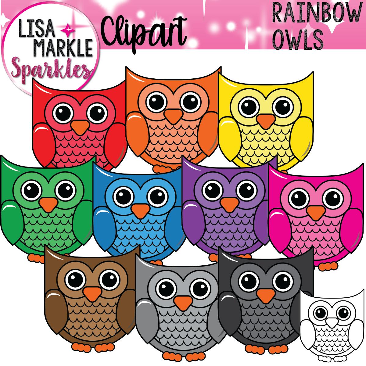 Owl Clipart Rainbow