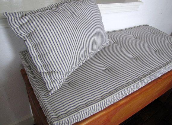 Custom Bench Cushion Firm Foam Bench Seat Cushion Blue Ticking