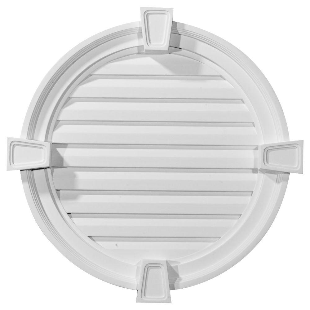 Ekena Millwork 22 In X 22 In Round Primed Polyurethane Paintable Gable Louver Vent Gvro22fk The Home Depot Gable Vents Ekena Millwork Millwork