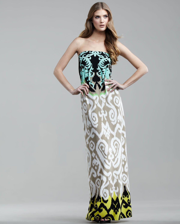 b457ebdb5e Tibi strapless jasmine print maxi dress in green lyst maxi
