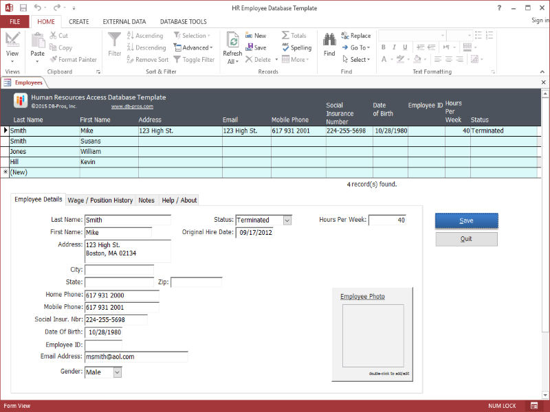HR Employee MS Access Database Template | Technology | Pinterest ...