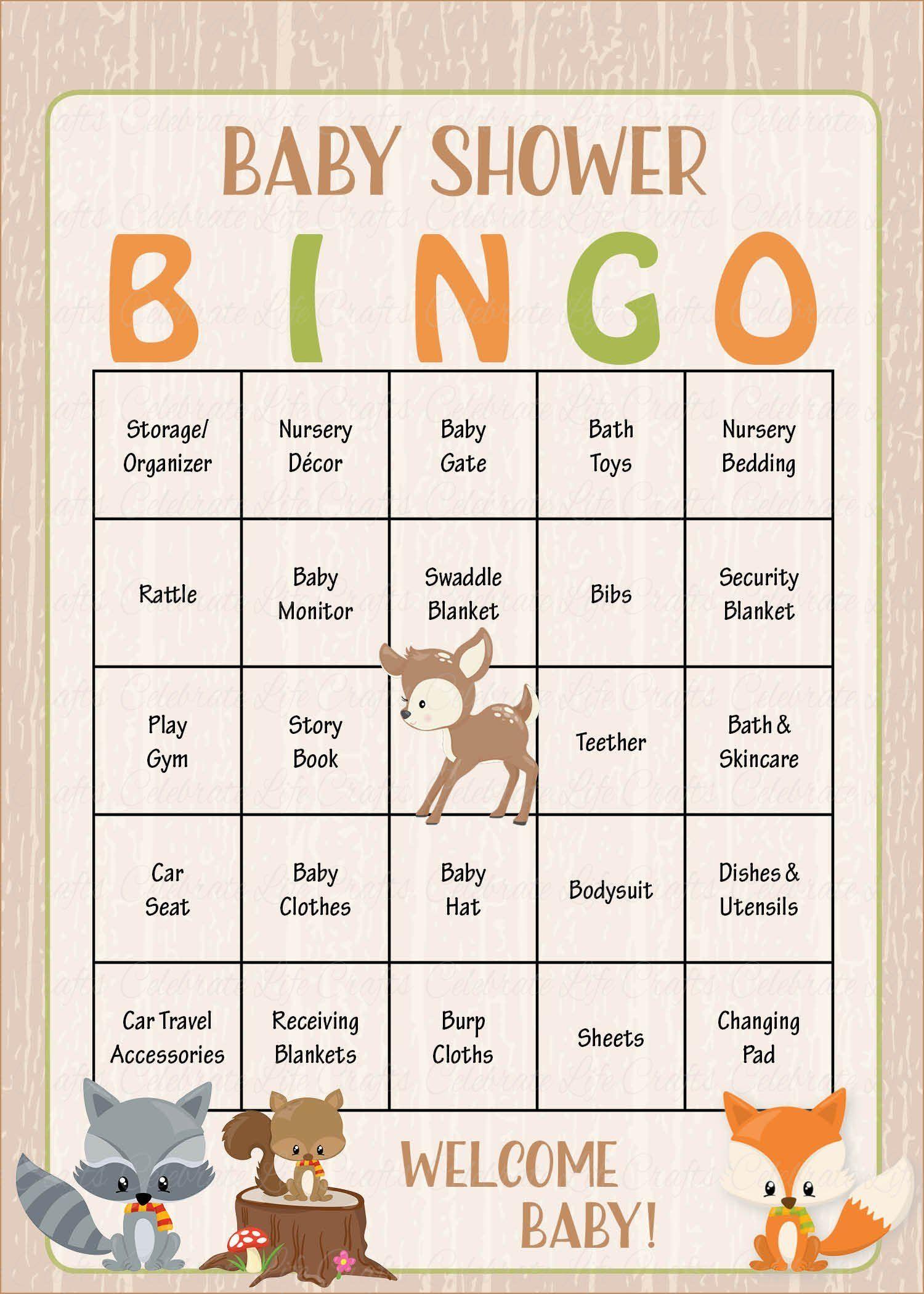 Woodland Baby Bingo Cards PRINTABLE DOWNLOAD Prefilled