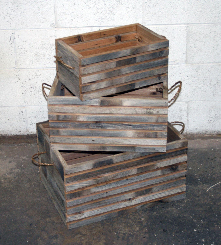 Nesting Barn Wood Slat Crates 5995 Via Etsy Barn Wood Crates