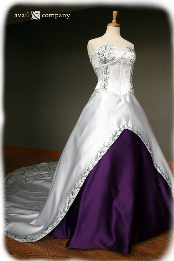 White and Purple Wedding Dress with Green Embroidery , Custom Made ...