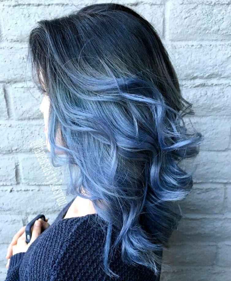 Black To Blue Ombre Hair Haur Cilor Curly Hair Hair Style Blue