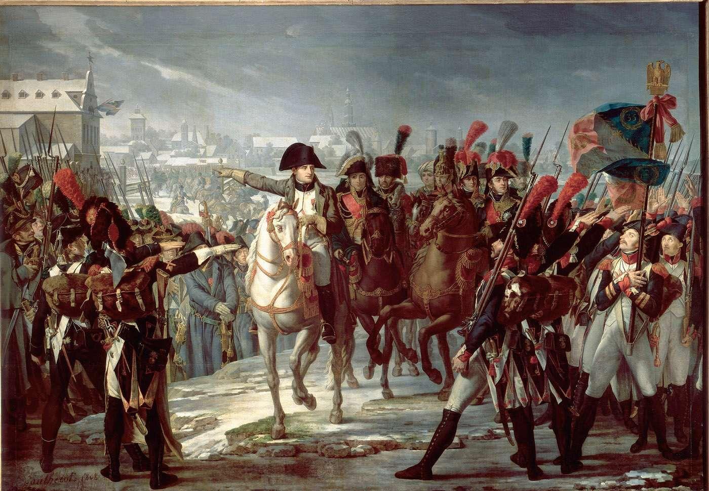 Napoléon 1er harangue le 2ème corps de la   Grande Armée sur le pont de Lech à   Augsbourg le 12 octobre 1805